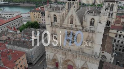 Cathedral St Jean In Lyon - Video Drone Footage