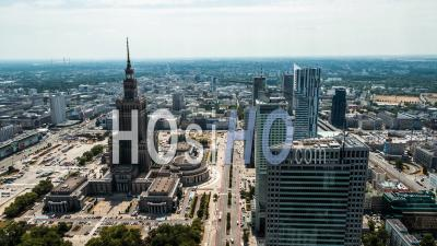 City Center, Palace Of Culture And Science, Palac Kultury I Nauki, Pkin, Warsaw, Warszawa - Video Drone Footage