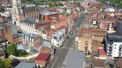 Empty Commercial Streets Of Lens During Lockdown Due To Covid-19 - Video Drone Footage