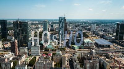 City Center, Palace Of Culture And Science, Palac Kultury I Nauki, Pkin, Warsaw, Warszawa - Video Drone Footage