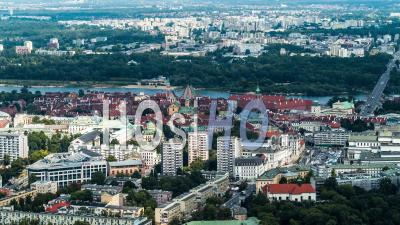 The Royal Castle In Warsaw, Zamek Krolewski W Warszawie, Old Town, Stare Miasto, Wisla, Vistula, Warsaw, Warszawa - Video Drone Footage