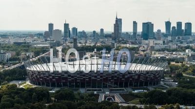 Stadium Pge Narodowy, Warsaw Skyline, Warsaw, Warszawa - Video Drone Footage