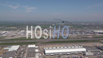 Heathrow Airport During Covid-19 Lockdown, London Filmed By Helicopter