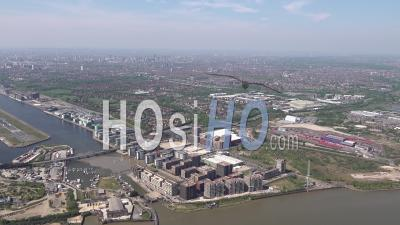 Beckton, North Woolwich And London City Airport During Covid-19 Lockdown, London Filmed By Helicopter