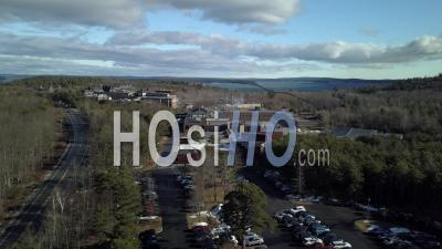 Laboratory In The Middle Of A Forest Near A Lake, Maine, Usa - Video Drone Footage