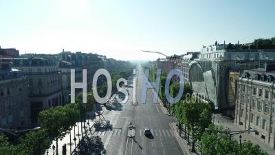 Champs Elysees Avenue View By Drone At Sunrise