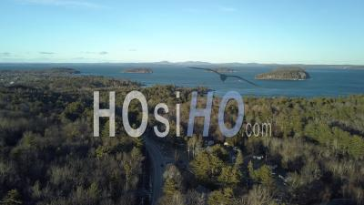 Islands In The Middle Of A Big Lake Surrounded By Forest, Maine, Usa - Drone Point Of View