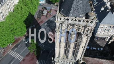 Above The Church Saint Jean Of Caen, And Desert Street During Lockdown Due To Covid-19 - Video Drone Footage