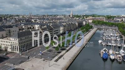 The Harbor Of Caen, And Desert Street During Lockdown Due To Covid-19 - Video Drone Footage