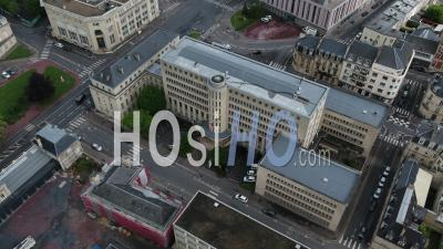 The Prefecture Of The Calvados, And Desert Street During Lockdown Due To Covid-19 - Video Drone Footage