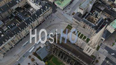 Above The Church Saint Pierreof Caen, And Desert Street During Lockdown Due To Covid-19 - Video Drone Footage