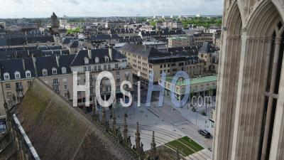 Above The Church Saint Pierre Of Caen, And Desert Street During Lockdown Due To Covid-19 - Video Drone Footage