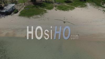 Covid-19-Empty Touristic Beach Of Ermitage At Saint Paul, Reunion Island - Video Drone Footage