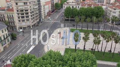 Place Catalogne In Perpignan During Covid-19 - Video Drone Footage