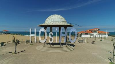 View On Anglet Empty Beach From A Kiosk During Covid-19 Lockdown, France - Video Drone Footage