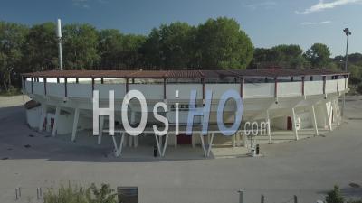 Aerial View, Arena Of Vieux Boucaut Les Bains - Video Drone Footage