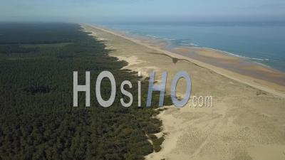 Aerial View Atlantic Coast And Landes Forest Near Soustons Beach - Video Drone Footage
