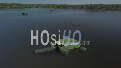 Aerial View Of Tons For Hunting Waterfowl - Video Drone Footage