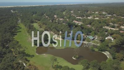 Aerial View Golf And Seignosse Pond - Video Drone Footage