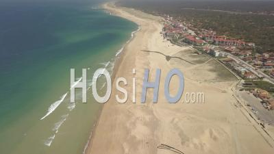 Aerial View Of The Capbreton Pier And Ocean Beach - Video Drone Footage
