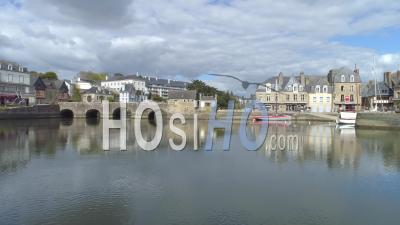 Port And The Bridge De Saint-Goustan Of Auray At Day 19 Of Covid-19 Lockdown - Video Drone Footage