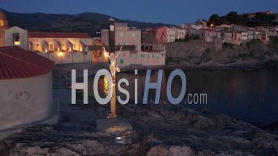 Chapelle Saint Vincent At Night, Collioure, Viewed From Drone