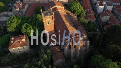 Saint Jacques Church In Perpignan - Video Drone Footage