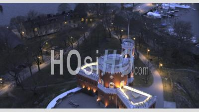 Aerial View Over Kastellet In Central After Sunset, Stockholm Sweden - Video Drone Footage