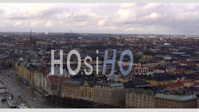 Cloudy Sunset Over Stockholm City, Sweden - Video Drone Footage