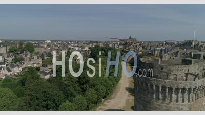 Castle Of Dinan, Brittany, France, In Spring - Video Drone Footage