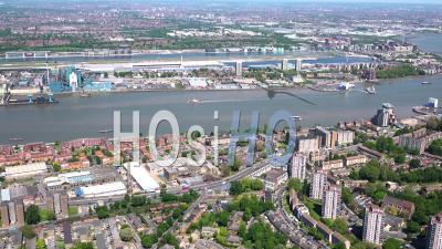 London City Airport And Woolwich During Covid-19 Lockdown, London Filmed By Helicopter