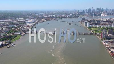 Thames Barrier And River Thames Looking Towards City Of London, During Covid-19 Lockdown, London Filmed By Helicopter
