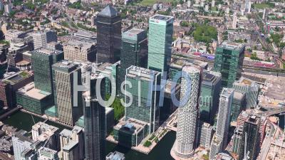 Isle Of Dogs And Canary Wharf, During Covid-19 Lockdown, London Filmed By Helicopter