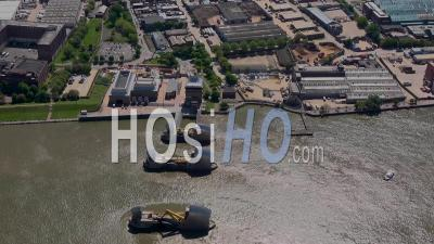 Thames Barrier And River Thames During Covid-19 Lockdown, London Filmed By Helicopter