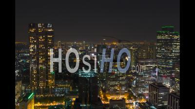 Ville De Bangkok Timelase De Nuit, Lumières Et Bâtiments