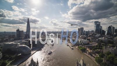 Majestic Tower Bridge, Sunny Day, Establishing Aerial View Of London Uk, United Kingdom - Video Drone Footage