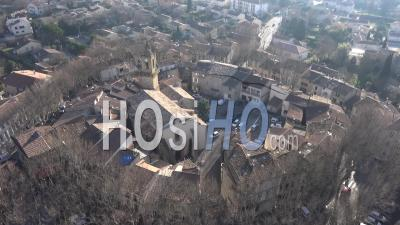 Grans Village In Provence In Winter - Video Drone Footage