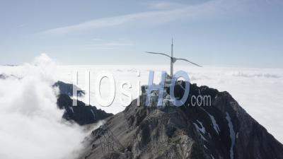 Coming Close To Pic Du Midi Above Cloud Sea Viewed By Drone