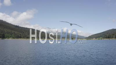 Pedalos On A Mountain Lake Viewed Ny Drone