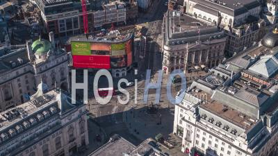 Establishing Aerial View Of London Uk, Piccadilly Circus, United Kingdom - Video Drone Footage
