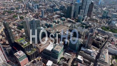 La Gare De Liverpool Street Et Le Marché De Spitalfields, Londres, Filmé En Hélicoptère
