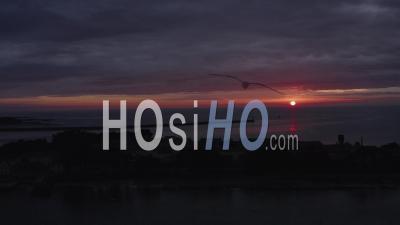 Pen Bron's Peninsula Sunset Landscape Drone Footage In Loire Atlantique France
