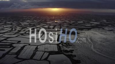 Guerande Salt Marshes In Spring, France - Video Drone Footage