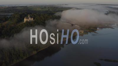 Champtoceaux France Loire Atlantique Castles Of The Loire Morning Fog River Sunrise- Video Drone Footage