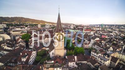 Beautiful Fraumunster, Aerial View Shot Of Zurich, Switzerland - Video Drone Footage