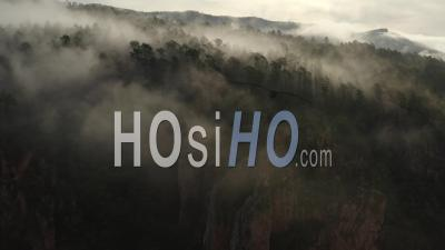 Gorges Du Blavet, Var Cote D'azur South Of France Sunrise Forest Cliffs Rocks Fog - Video Drone Footage