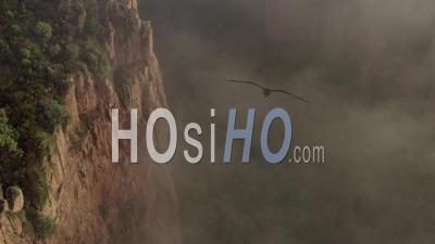 Gorges Du Blavet Esterel Var Cote D'azur South Of France Sunrise Cliffs Rocks Fog - Video Drone Footage