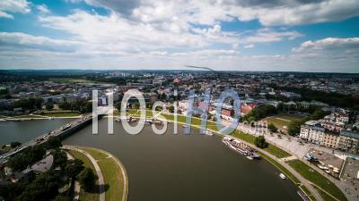 River Vistula, Wisla, West Cracow, Krakow, Poland - Video Drone Footage
