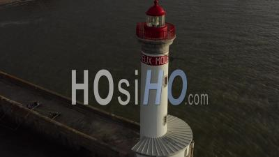 Saint-Nazaire's Lighthouse At Sunrise Drone Footage In France