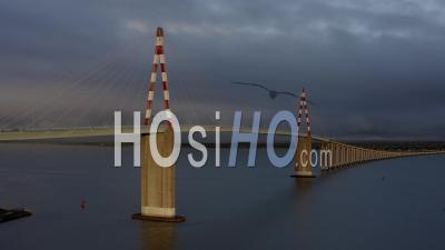 Saint Nazaire Bridge In Cloudy Times In West Of France - Video Drone Footage